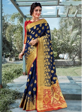 Traditional Designer Saree Weaving Art Silk in Navy Blue