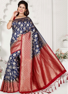 Traditional Designer Saree Weaving Art Silk in Navy Blue