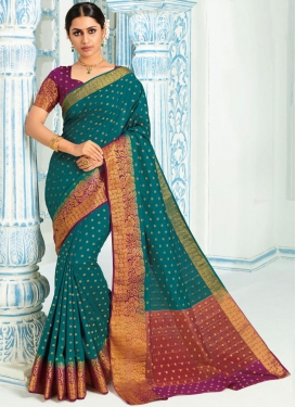 Traditional Designer Saree Weaving Art Silk in Teal