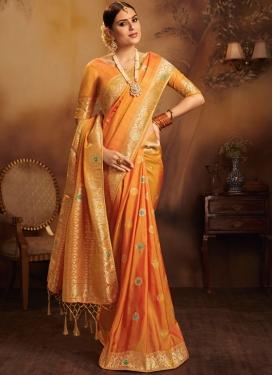 Traditional Designer Saree Weaving Jacquard Silk in Orange