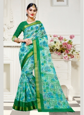 Traditional Saree Abstract Print Cotton Silk in Multi Colour