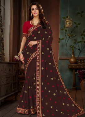 Traditional Saree Embroidered Art Silk in Coffee Brown