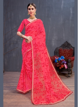 Traditional Saree Embroidered Art Silk in Rose Pink
