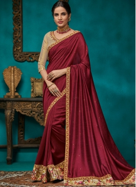 Traditional Saree Embroidered Poly Silk