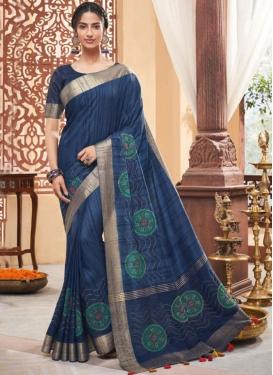 Traditional Saree Print Art Silk in Navy Blue