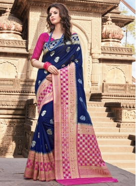 Traditional Saree Weaving Art Silk in Navy Blue