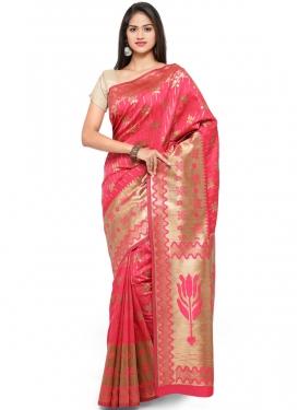 Traditional Saree Weaving Art Silk in Rose Pink