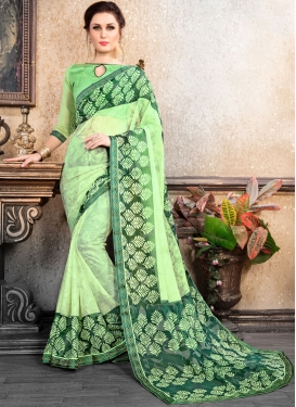 Transcendent Brasso Abstract Print Green Printed Saree