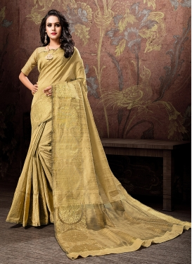 Transcendent Gold Woven Cotton Silk Designer Traditional Saree