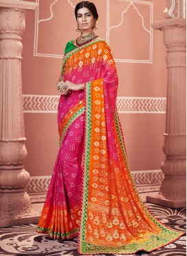 Transcendent Patch Border Faux Georgette Multi Colour Shaded Saree