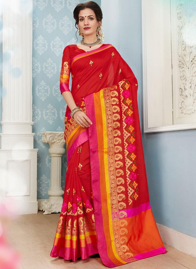 Transcendent Resham Red Traditional Saree