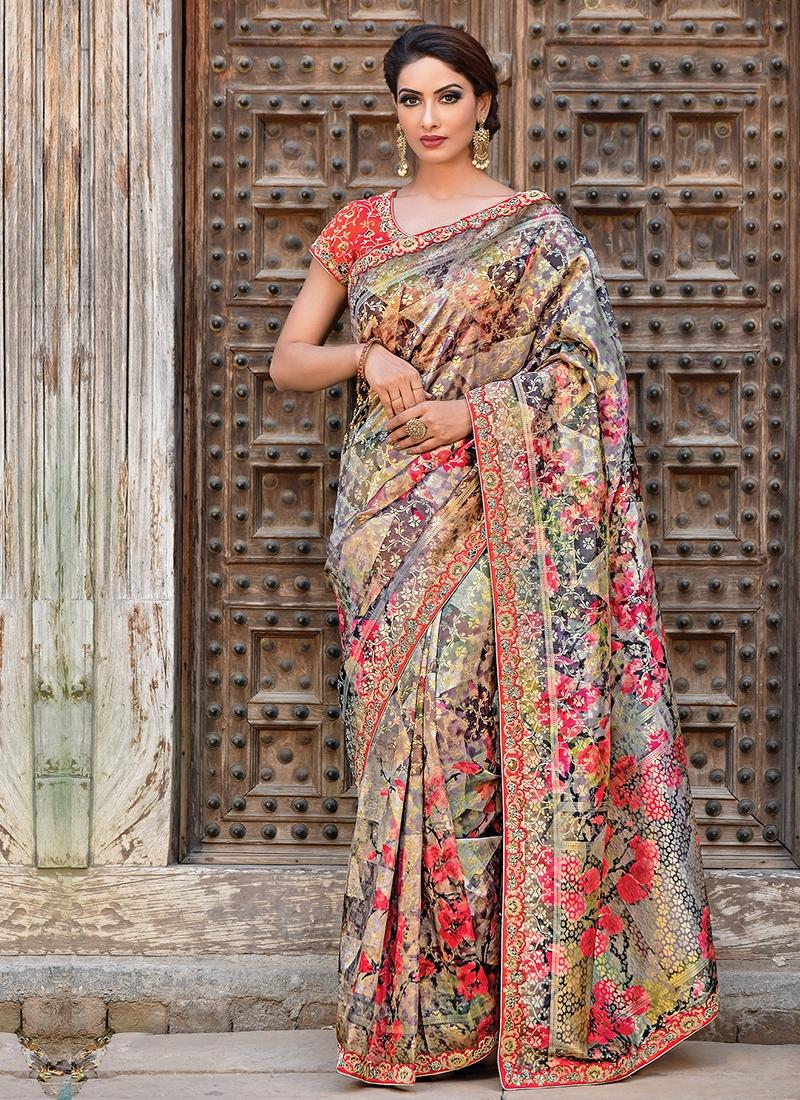 Trendy Art Silk Multi Colour Weaving Traditional Designer Saree