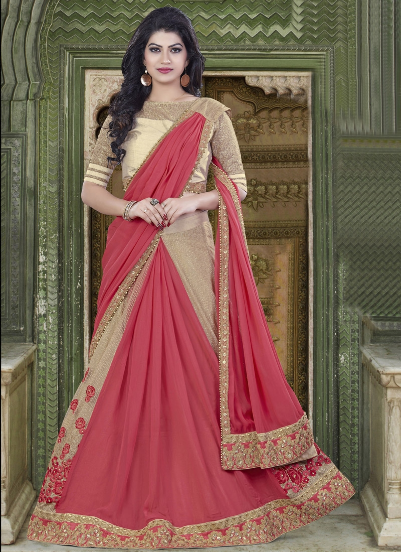 Trendy Beads Work Chiffon Satin Beige and Rose Pink Lehenga Style Saree