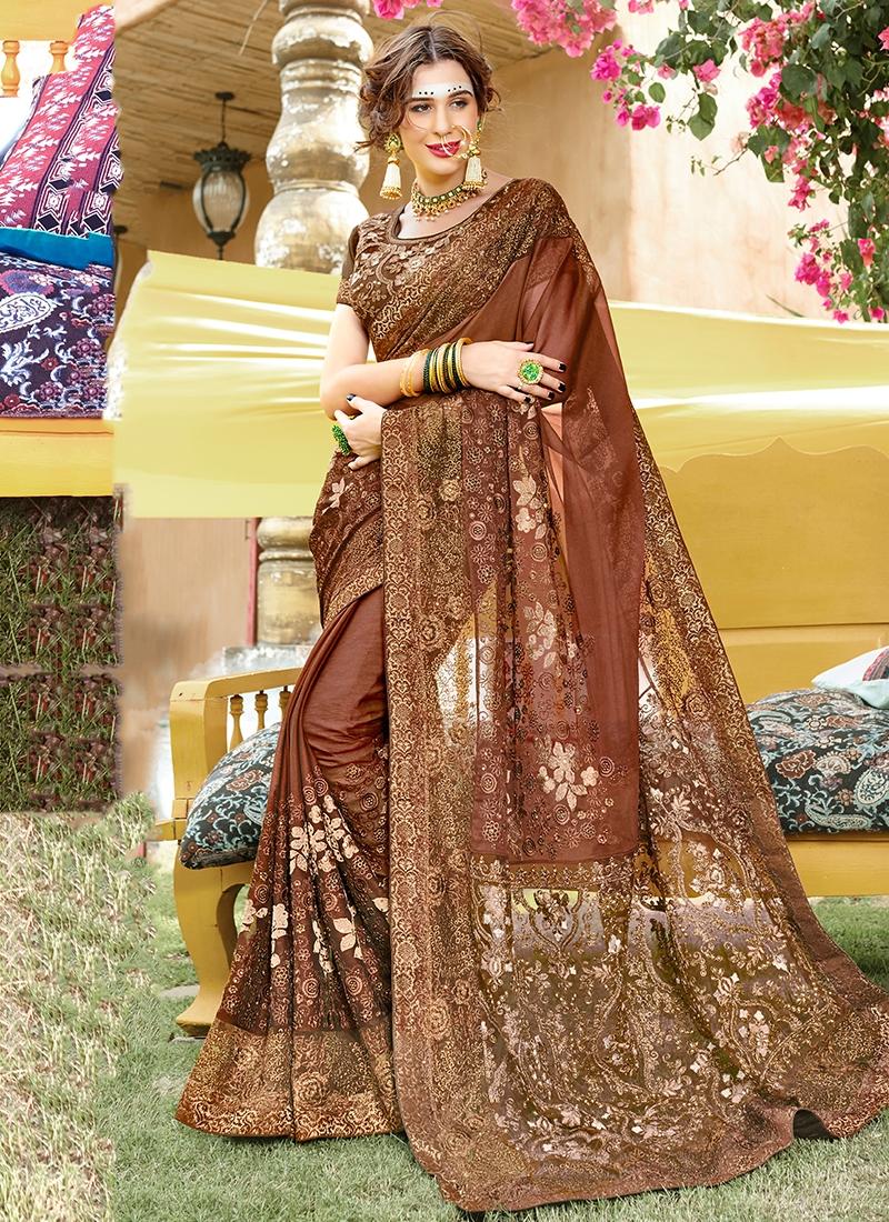 Trendy Brown Classic Designer Saree