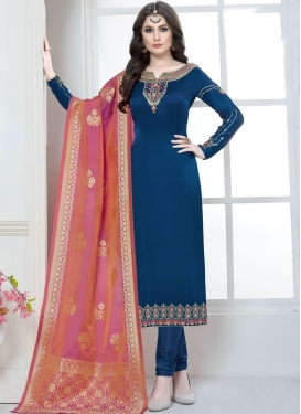 Trendy Embroidered Georgette Satin Trendy Salwar Suit