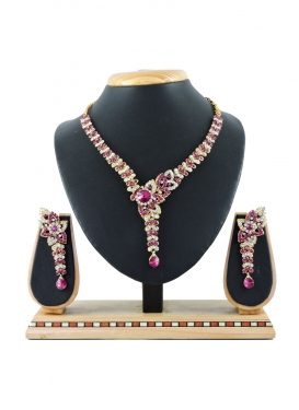 Trendy Gold Rodium Polish Rose Pink and White Necklace Set