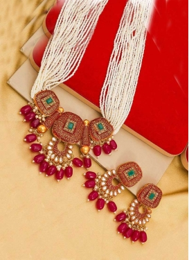 Trendy Red and White Beads Work Necklace Set For Festival