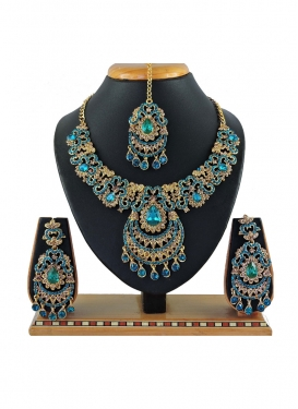 Trendy Stone Work Necklace Set For Bridal