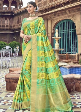 Turquoise and Yellow Designer Contemporary Style Saree