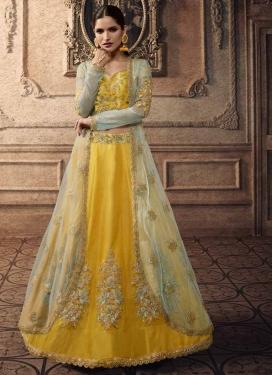 Turquoise and Yellow Jacket Style Lehenga Choli