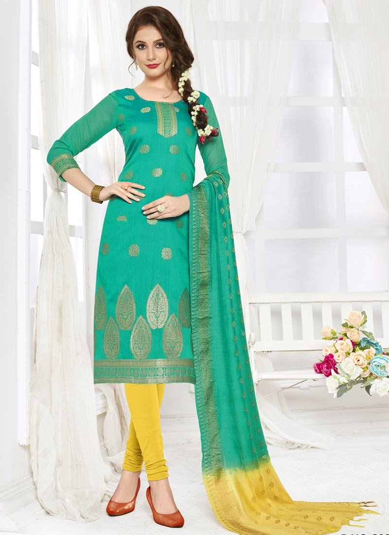 Turquoise and Yellow Thread Work Jacquard Silk Trendy Churidar Salwar Suit