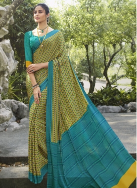 Turquoise and Yellow Traditional Designer Saree