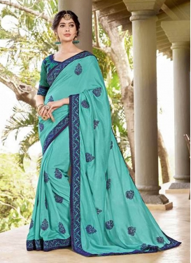 Turquoise Embroidered Festival Saree