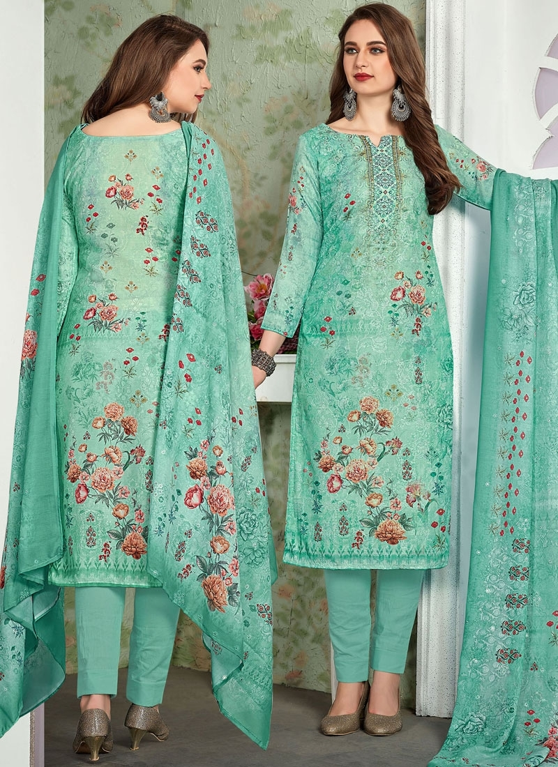 Turquoise Muslin Pant Style Suit