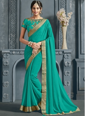 Turquoise Patch Border Sangeet Trendy Saree