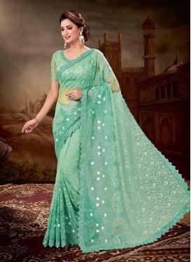 Turquoise Reception Net Designer Saree