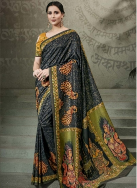 Tussar Silk Black and Olive Traditional Saree For Ceremonial