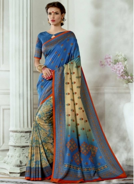 Tussar Silk Blue and Cream Digital Print Work Contemporary Style Saree