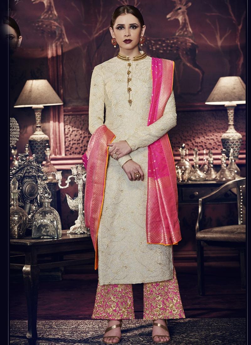 Tussar Silk Cream and Rose Pink Palazzo Style Pakistani Salwar Kameez