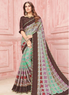 Tussar Silk Digital Print Work Designer Contemporary Style Saree