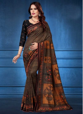 Tussar Silk Digital Print Work Trendy Classic Saree