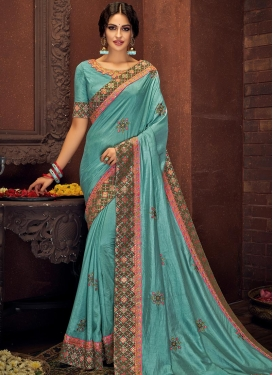 Tussar Silk Embroidered Work Designer Traditional Saree