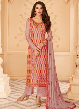 Tussar Silk Embroidered Work Palazzo Style Pakistani Salwar Kameez