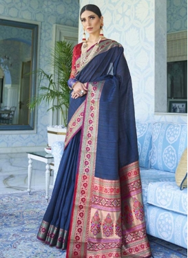 Tussar Silk Navy Blue and Red Designer Contemporary Style Saree For Ceremonial