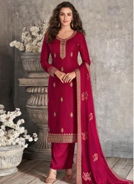 Tussar Silk Palazzo Style Pakistani Salwar Kameez