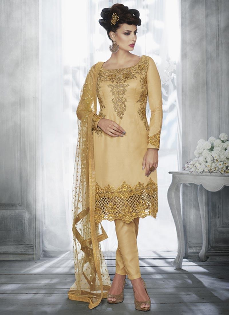 Tussar Silk Pant Style Designer Salwar Kameez For Festival