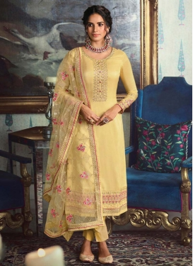 Tussar Silk Pant Style Pakistani Salwar Suit For Ceremonial