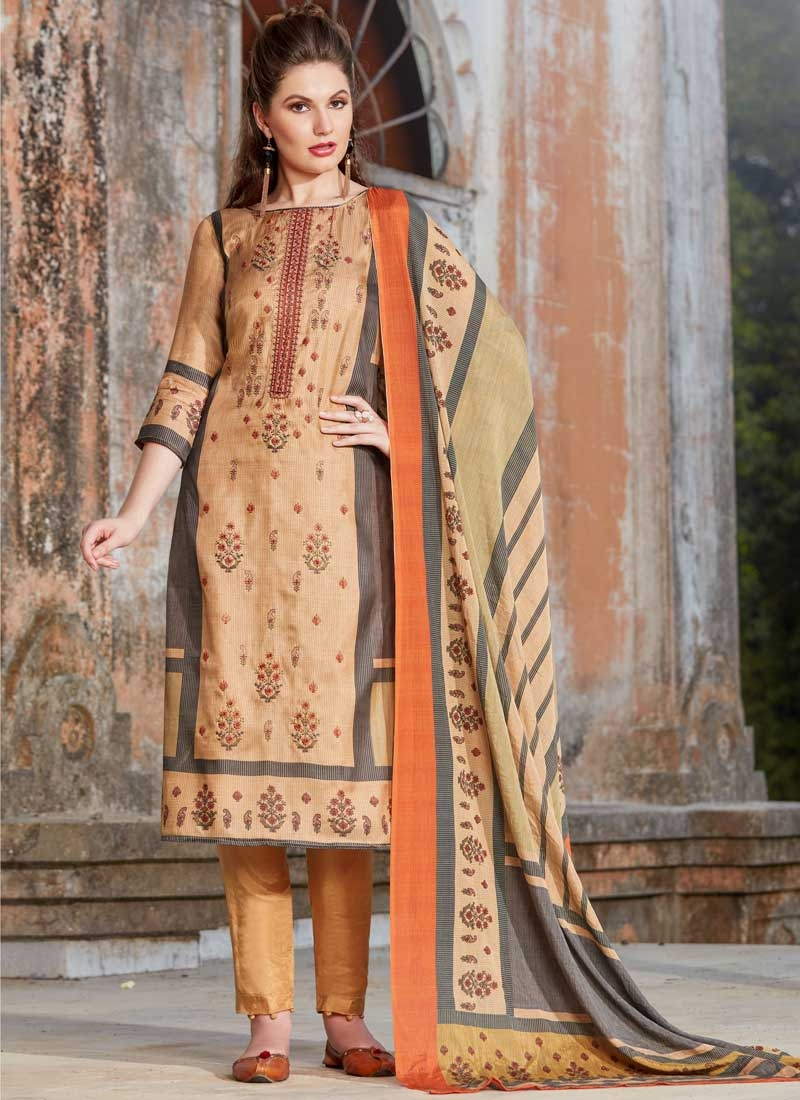 Tussar Silk Pant Style Pakistani Suit For Ceremonial