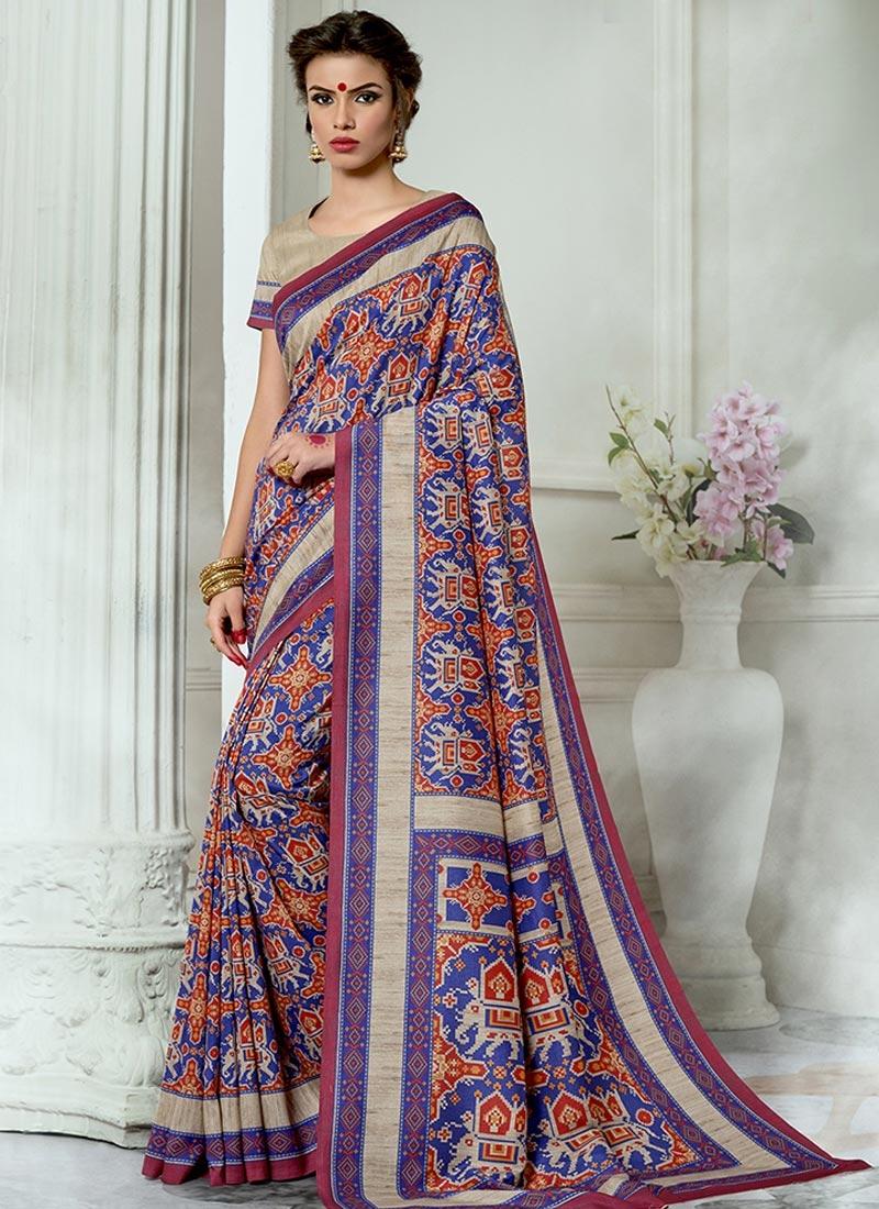 Tussar Silk Print Work Contemporary Saree