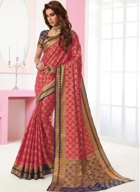 Tussar Silk Rose Pink Traditional Designer Saree