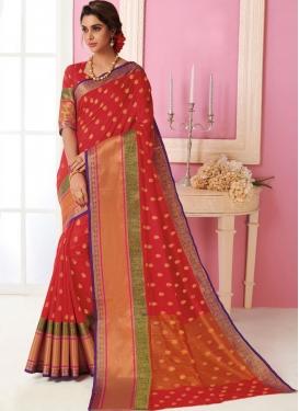 Tussar Silk Weaving Designer Traditional Saree in Red