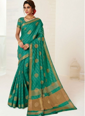 Tussar Silk Weaving Designer Traditional Saree in Sea Green