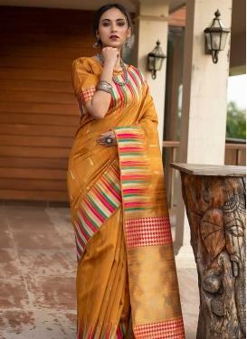 Tussar Silk Woven Work Designer Contemporary Style Saree