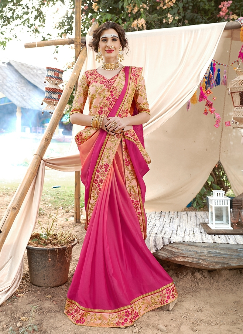 Unique Faux Georgette Rose Pink Saree