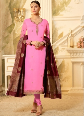 Unique Georgette Satin Embroidered Churidar Designer Suit