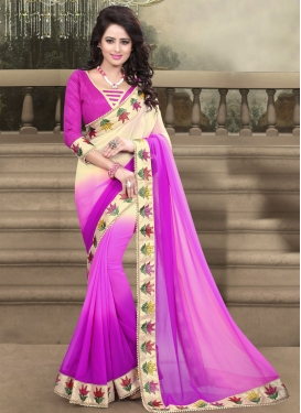 Unique Lace And Beads Work Party Wear Saree